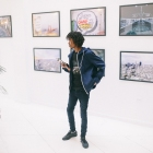 Photograph Omeez at his 'Not For Sale' Art Showcase - July 2017 - Black Scale, SF - SOL REPUBLIC